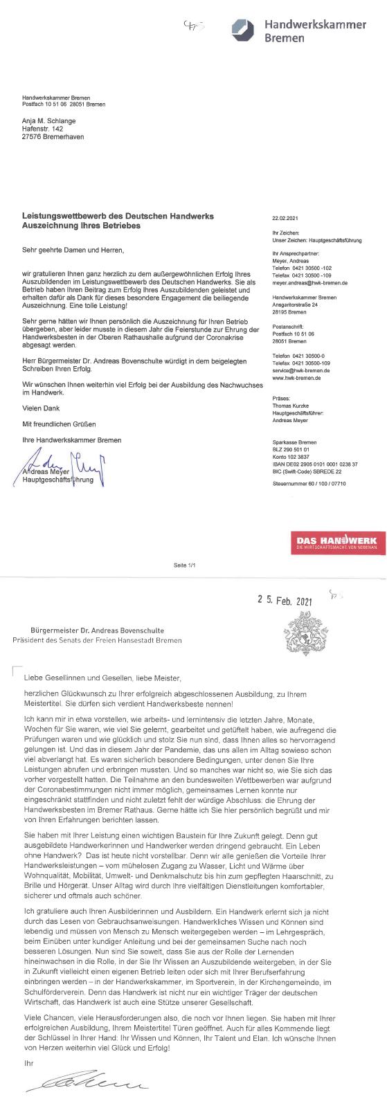 Brief der Handwerkskammer