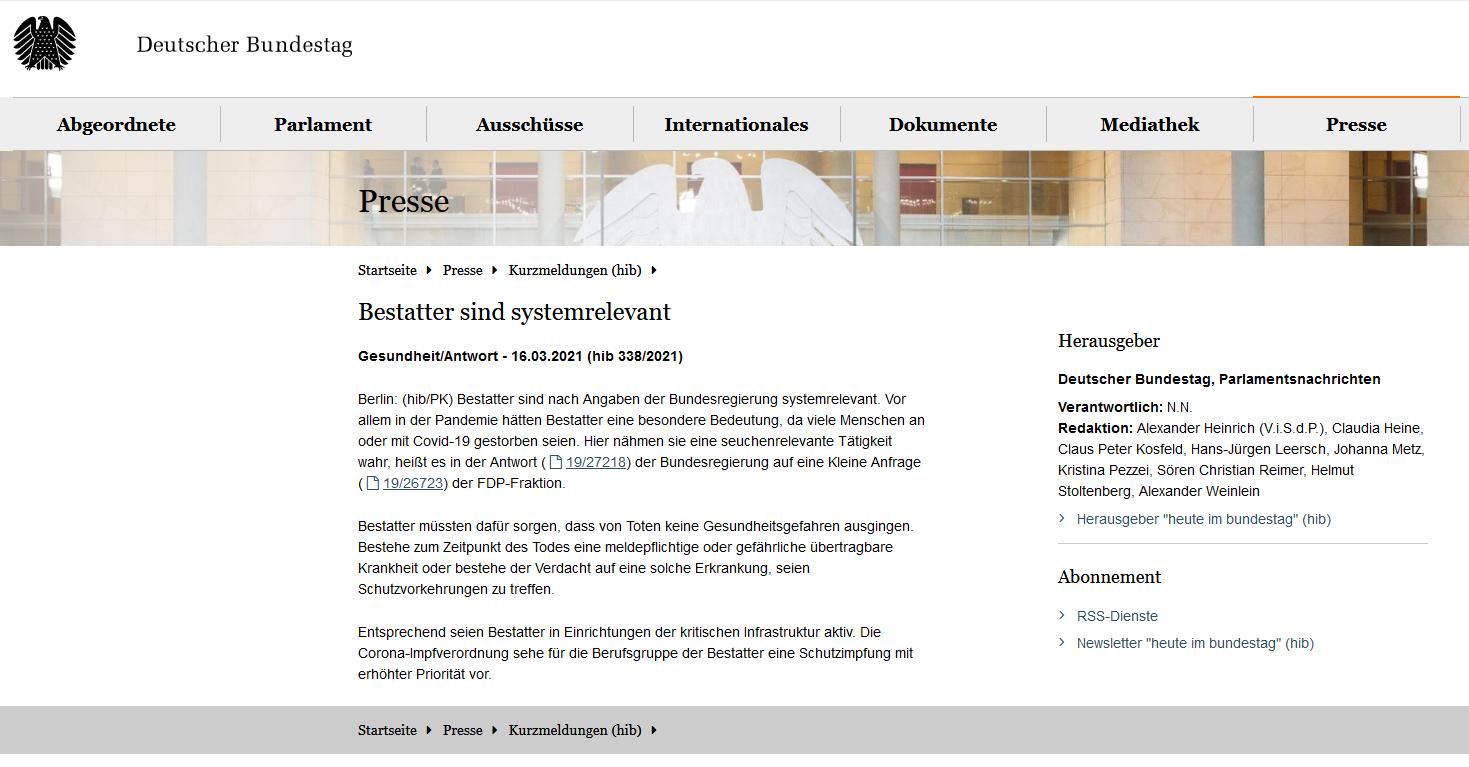 Bundestag bestätigt - Bestatter sind Systemrelevant